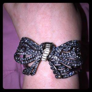 Chrome Metal Jeweled Bow Bracelet